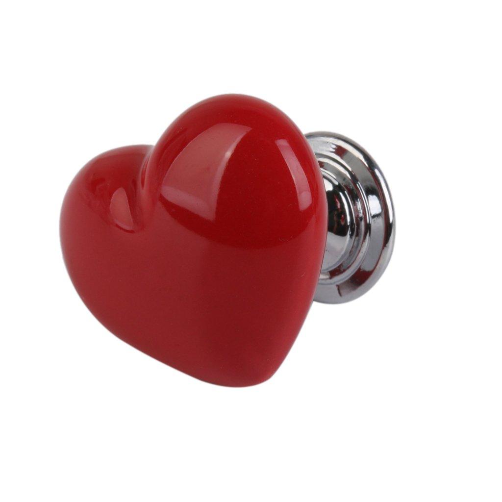 Heart Shaped Door Drawer Bin Handle Pull Knob Hardware Red L
