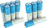 12 AAA 400mAh Ni-MH Rechargeable Batteries Baseline Battery 1.2V for Garden Solar Light, Remotes, small appliances