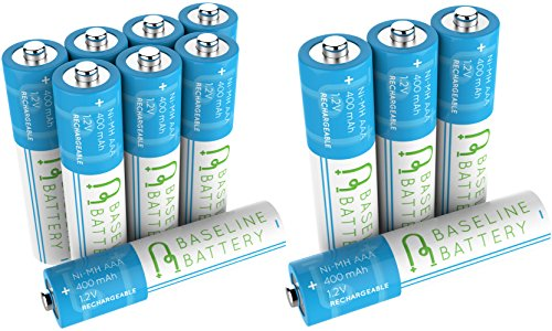 1.2v Rechargeable Nimh Battery - 12 AAA 400mAh Ni-MH Rechargeable Batteries Baseline Battery 1.2V for Garden Solar Light, Remotes, small appliances