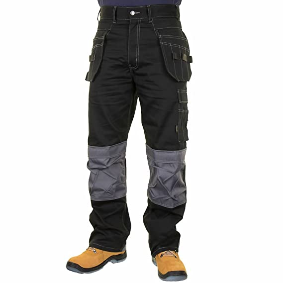 99dc2fea9e Mens Kington Stretch Work Trouser with Cordura Knee Pad Pockets Black:  Amazon.co.uk: Clothing