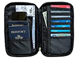 RFID Travel Passport Wallet & Document Organizer Zipper Case , Black or Blue