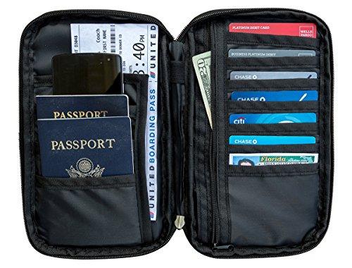 RFID Travel Passport & Document Organizer Zipper Case , Black or Blue