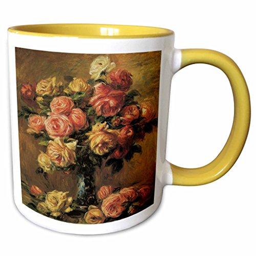 Pierre Auguste Roses Renoir - 3dRose BLN Flower Paintings Fine Art Collection - Les Roses dans un Vase by Pierre-Auguste Renoir Flower Still Life - 15oz Two-Tone Yellow Mug (mug_126509_13)