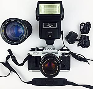 Canon AE-1 Program 35mm Manual Focus Film Camera - Lens - Flash Combo
