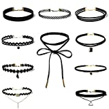 SuperLi 10 Pieces Choker Necklace for Women Girls, Black Classic Velvet Stretch Gothic Tattoo Lace