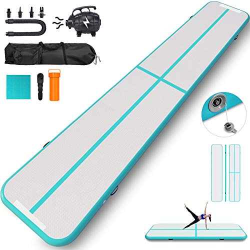 Happybuy 10ft 13ft 16ft 20ft 23ft 26ft 30ft Air Track 8 inches Airtrack 4 inches Inflatable Air Track Tumbling Mat for Gymnastics Martial Arts Cheerleading Tumble Track with Pump Tiffany 30ft 40x4in