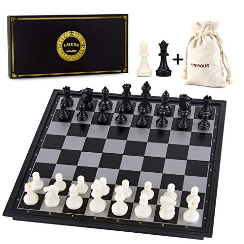 AMEROUS 10 Inches Magnetic Travel Chess Set with Folding Chess Board - 2 Extra Queens - Storage Bag for Pieces - Instructions for Beginner