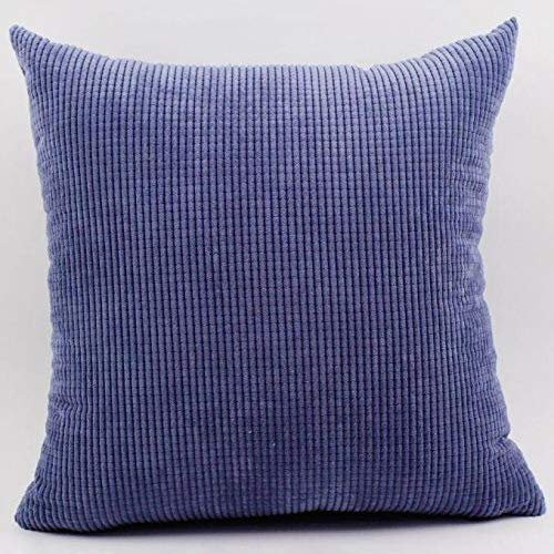 - Decorative Corduroy Cushion Cover Square Throw Pillow Case for Sofa/Bench/Couch, Denim Blue, 22