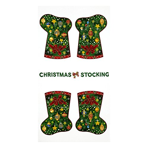 Fabri-Quilt Season's Greetings Christmas Stockings 23.5in Panel Multi - Christmas Seasons Stockings Greetings