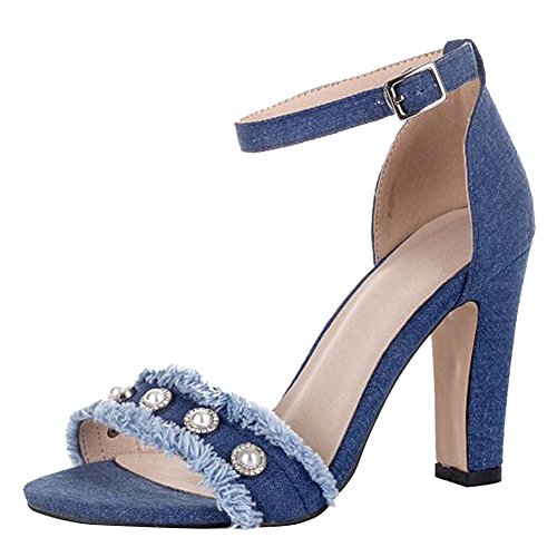 Carolbar Women's Western Concise Block High Heel Ankle-Strap Buckle Sandals Blue-beaded