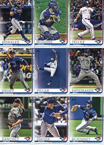 2019 Topps Series 2 Baseball Toronto Blue Jays Team Set of 9 Cards: Kendrys Morales(#436), Reese McGuire(#442), Matt Shoemaker(#533), Rowdy Tellez(#556), Kevin Pillar(#623), Aaron Sanchez(#677), Justin Smoak(#680), Billy McKinney(#685), Brandon Drury(#686)
