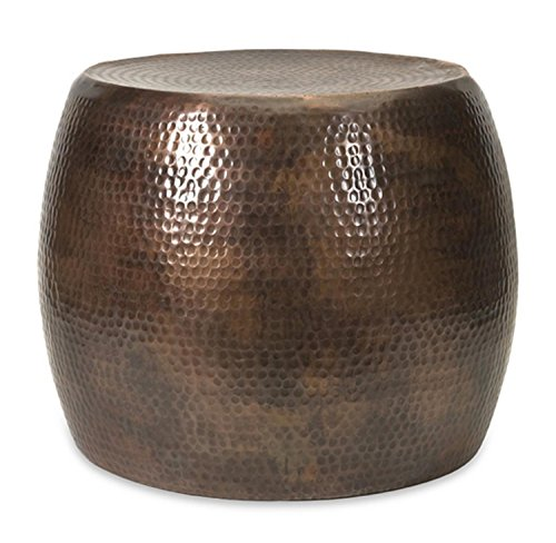 20.5'' Marian Short Hammered Two-Tone Brown Aluminum Accent Footstool Table by CC Home Furnishings