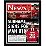 Manchester United Football Club Newspaper Front Page Personalised for a great gift