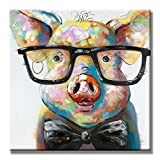 SEVEN WALL ARTS -100% Hand Painted Oil Painting Cute Colorful Animal Painting Smart Potter Pig Decorative Artwork for Home Decor Ready to Hang 32 x 32 Inch