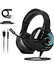 ONIKUMA Casque Gaming PS4, Casque Gamer avec Micro et RGB LED Lampe pour PS4 Xbox One PC Mac Nintendo Switch Smartphone Laptop/Surround 7.1 virtuel/Anti Bruit Mic/Arceau Réglable/Drivers de 50mm