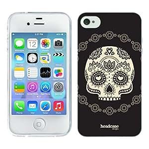 Head Case Designs Half Skull Calaveras de Azucar Soft Gel Back Case Cover for Apple iPhone 4 4S