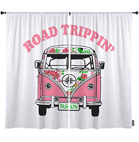 """Price comparison product image Mugod Car Window Curtain Road Trippin Vintage Bus Travel Pink Flower Fashion Blackout Curtains Home Decorative Polyester Large Window Drapes 2 Panels for Bedroom 108"""" W x 90"""" H Inch"""