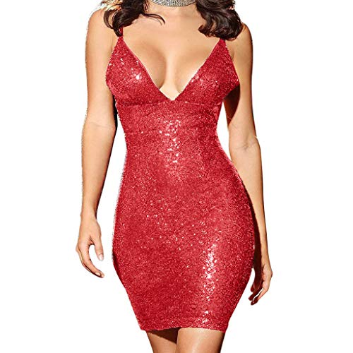 NEWONESUN Women's Sequin Glitter Spaghetti Strap Sexy Bodycon Deep V-Neck Mini Stretchy Party Club Dresses Cocktail]()