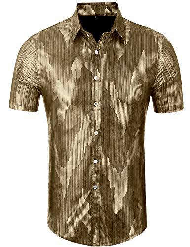 Daupanzees Men's Dress Shirt Sequins Button Down Shirts