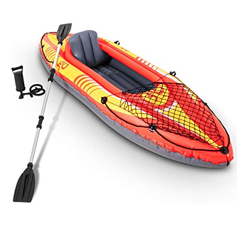 oldzon 1-Person Inflatable Canoe Boat Kayak Set W/Aluminum A