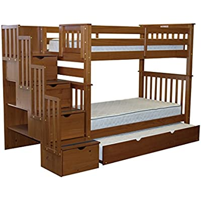 bedz king tall stairway bunk bed twin over twin with 4 drawe