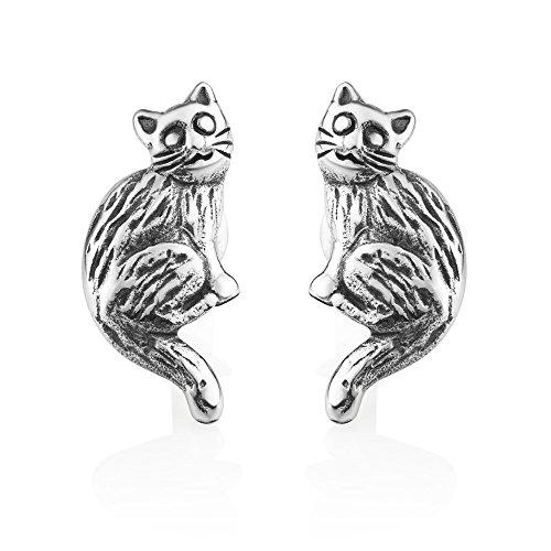 925 Oxidized Sterling Silver Vintage Cute Sitting Cat Kitten Pet Lover Post (Jerry Sterling Silver Earrings)
