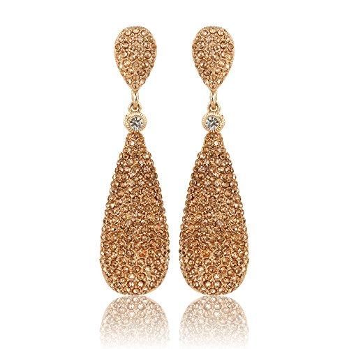 Moonstruck Costume Jewelry Chandelier Rose Gold Diamond Studded Metal Drop and Dangle Earrings for Women