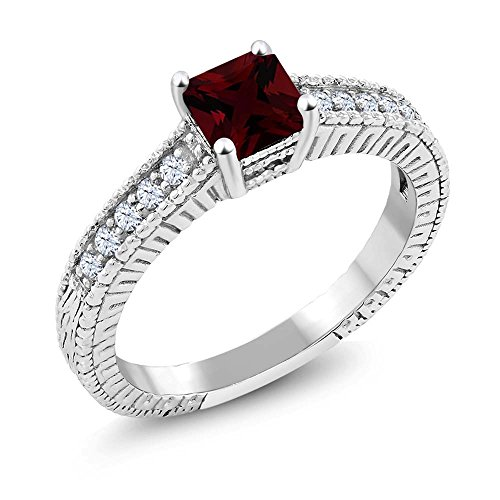 Garnet Vintage Bands (1.07 Ct Princess Red Garnet White Created Sapphire 925 Sterling Silver Ring (Available in size 5, 6, 7, 8, 9))