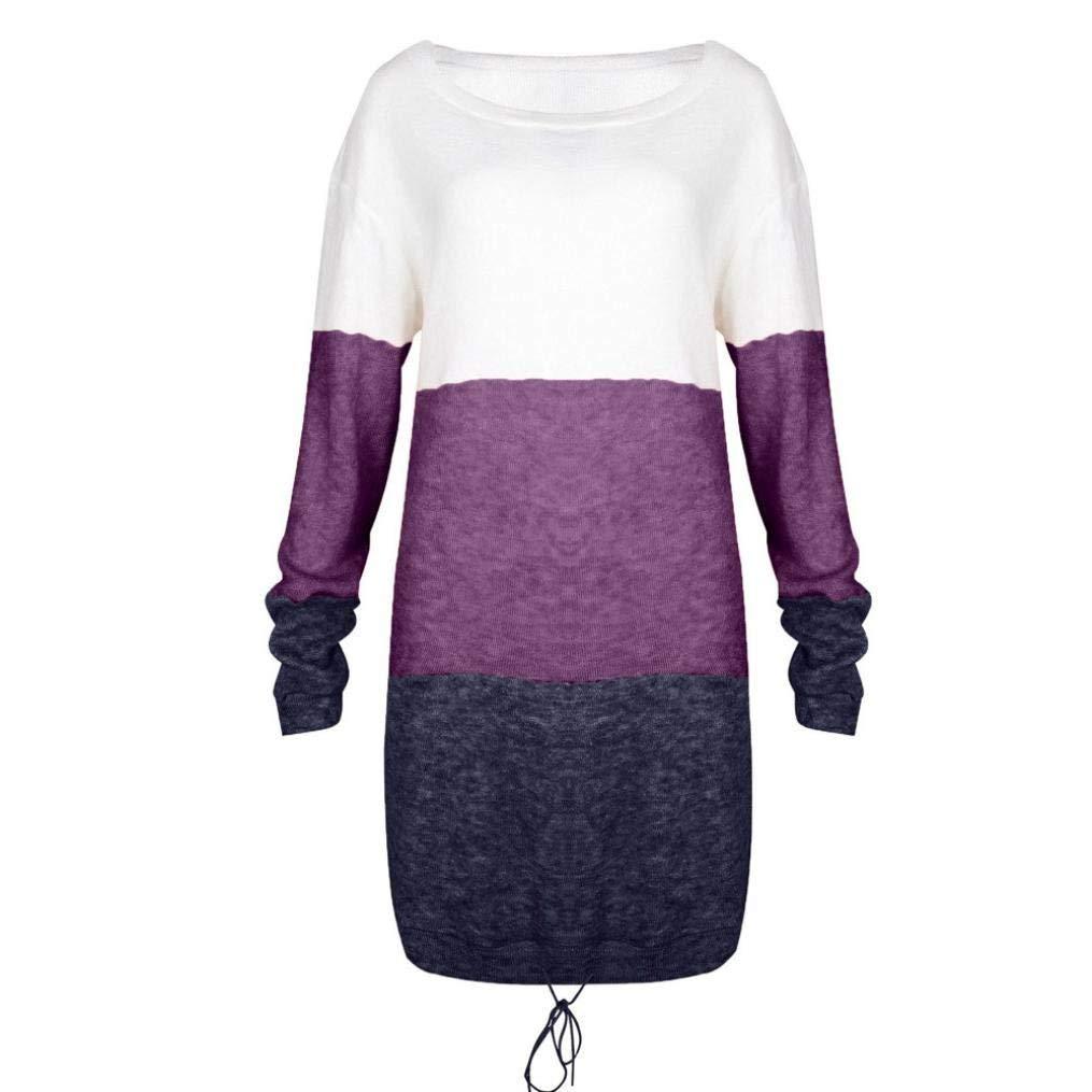 Violet MJY La mode des femmes tricotent robe, hommeches longues occasionnels dames de robe de partie de collier de col,Violet,L_UK 20 L_UK 20
