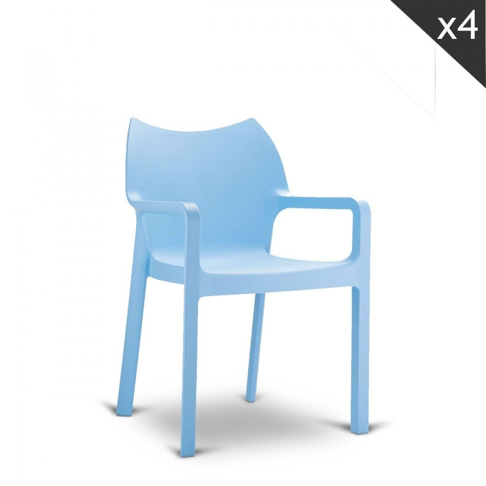 Compamia Diva Resin Outdoor Patio Dining Arm Chair in Light Blue, Commercial Grade