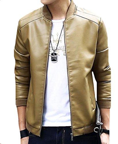 Khaki Jacket Leather Spring Coat Men's Casual Autumn Loose Pu Mogogo qwzaSRx