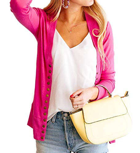 NENONA Women's V-Neck Button Down Knitwear Long Sleeve Soft Basic Knit Cardigan Sweater(Fuchsia-XL)