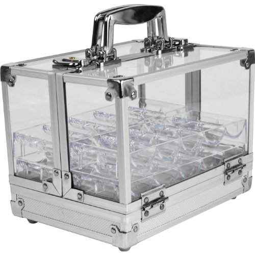 Chip Capacity Clear Acrylic - Trademark Poker 600 Pc Clear Acrylic Case with 6 100 Pc Chip Trays