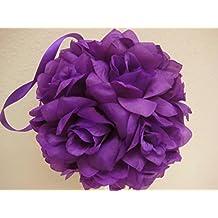 "6 Kissing Balls Rose 7"" PURPLE Artificial Silk Flowers FB639PU"