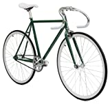 Critical Cycles Classic Fixed-Gear Single-Speed Bike with Pista Drop Bars, Hunter Green, 49cm/Small