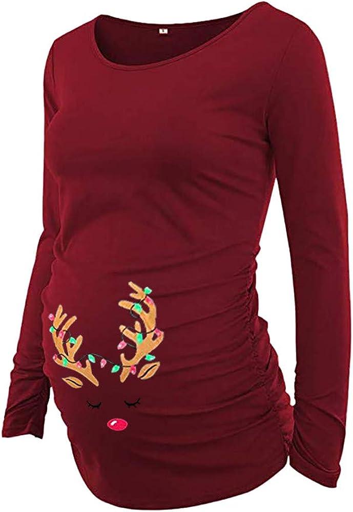 Topgrowth Maglia Premaman Divertenti Natale Cervo Maglietta A Maniche Lunghe Donna T-Shirt Gravidanza T-Shirt Camicette Camicie Casual Natalizio Tops
