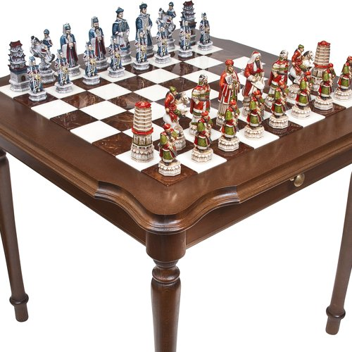 Bello Games Collezioni - Great Wall of China Chessmen & Luxury Palazzo Chess & Checkers Table from Italy ()