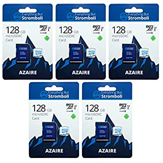 Everything But Stromboli 128GB MicroSD Azaire Memory Card & Adapter (5 Pack) Works with Action Cams & Drones, GoPro Hero Cameras, DJI Mavic, Phantom, Spark, Osmo, Class 10, U1, UHS-1, 4K Full HD SDXC