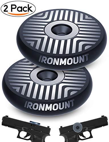 Gun Magnet Mount | 35 Lb Rated Double-Sided Magnetism | Adhesive Magnets | IronMount Rubber Coated Magnetic Gun Mount & Holster | Concealed Holder for Car, Handgun, Pistol, Shotgun, Rifle (2 Pack)