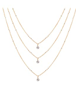 MOONQING Multilayer Necklace Minimalist Rhinestone Pendant Necklace Exquisite Pop Style Necklace,Gold