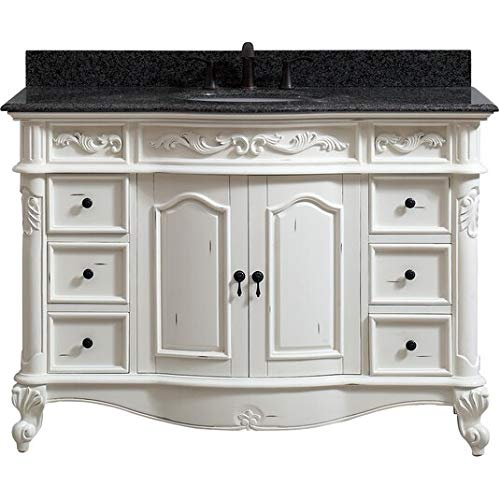 (49 in. Single Sink Vanity in Antique White Finish)