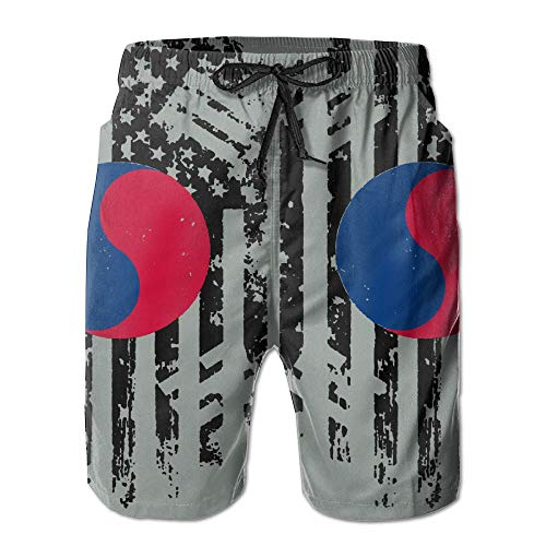 KDSG GSKD Korea and America Flag Mens Beach Shorts Swim Trunks Quick Dry Bathing Suits