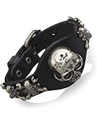 5 Skull Bracelet Mens Womens Genuine Leather Cuff Gothic...