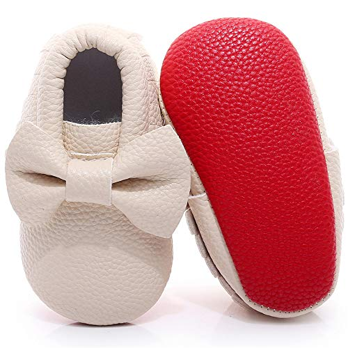 Double Bow Baby Moccasins -  Soft Red Sole Baby Shoes Toddler Infant Fringe Girls Shoes  (3-6months/11.5cm/4M US Toddler, Beige)