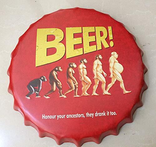 NEWNESS mundo cerveza.Honor tu antepasados 35cm clásico redonda de hierro de metal retro tapas de cerveza cartel/Metal Tin...