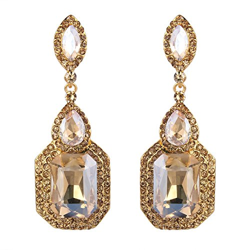 BriLove Women's Wedding Bridal Dangle Earrings Emerald Cut Crystal Infinity Figure 8 Chandelier Earrings Champagne Gold-Toned