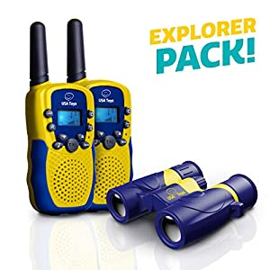 """Walkie Talkies for Kids with Kids Binoculars Set - """"Vox Box"""" Voice Activated Kids Walkie Talkies Long Range Radios with 3+ Mile Range and 6x21 Binoculars for Kids with Carry Case"""