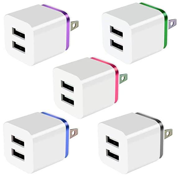 Amazon.com: Cargador USB, bloque de carga, 2.1 A, doble USB ...
