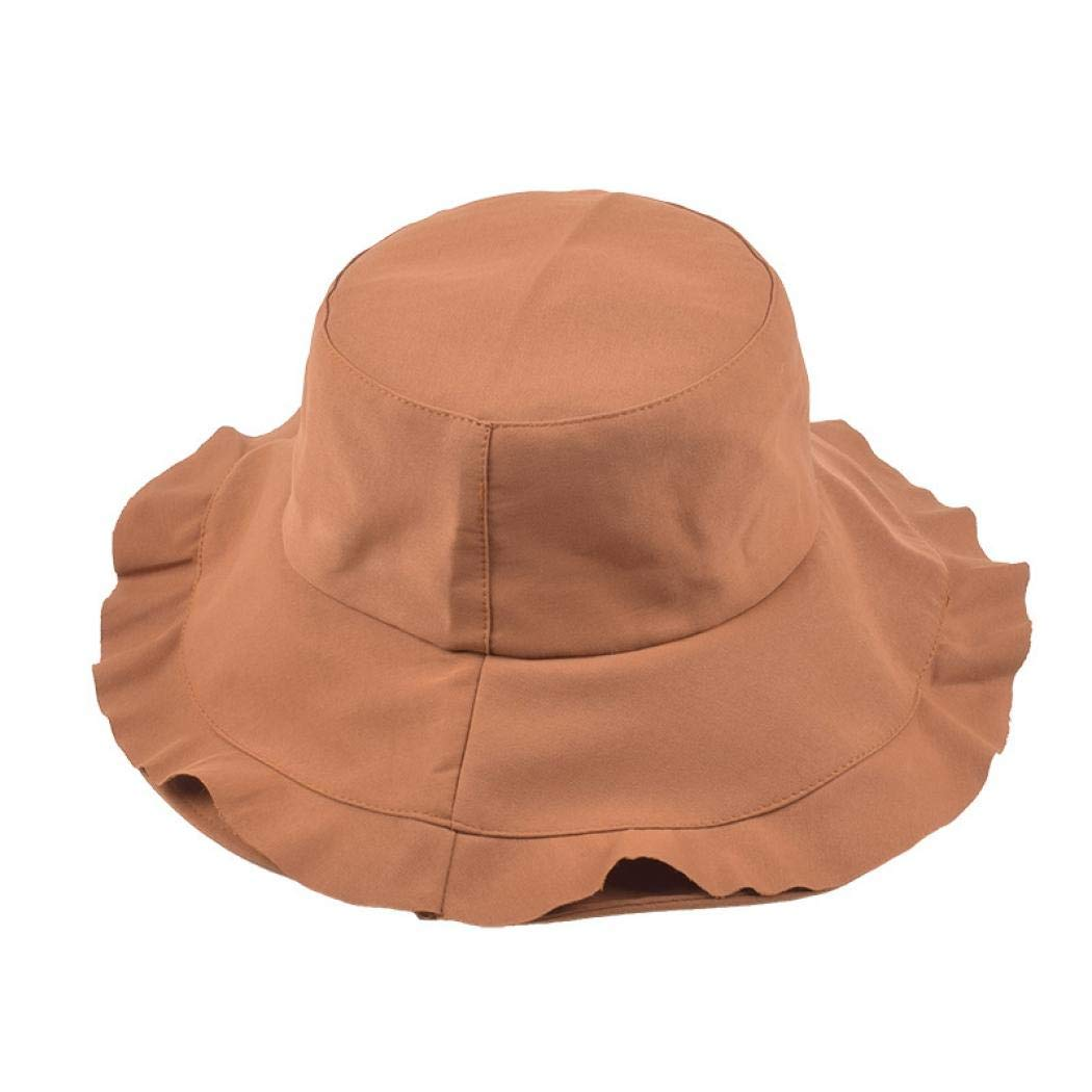 Hurber Womens Cotton Sun Protection Bucket Hat Floppy Foldable Wide Brim Hat Summer Beach Cap for Travel