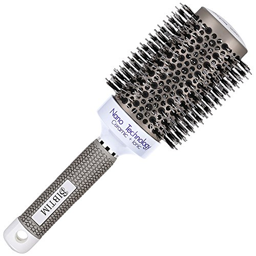 BIBTIM Nano Technology Ceramic & lonic Round Barrel Hair Brush with Natural Boar Bristle for Blow Drying, Curling, Styling, Straightening (2 inch)